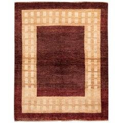 Modern Brown Gabbeh Persian Handmade Wool Rug