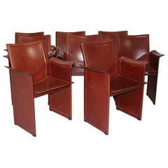 Modern Brown Leather Vintage Dining Chairs Tito Agnoli for Matteo Grassi, 1979