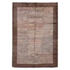 Modern Brown Persian Gabbeh Handmade Wool Rug