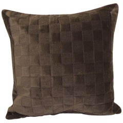 Modern Brown Quilted Square Decorative Pillow