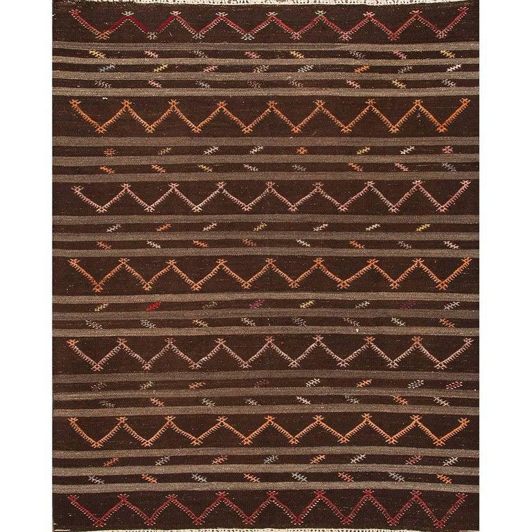 Modern Brown Striped Turkish Kilim Rug