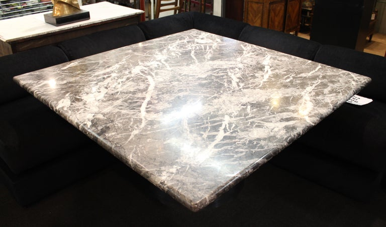 Modern Brueton Style Dining Table With Square Veined Marble Top For Sale 5
