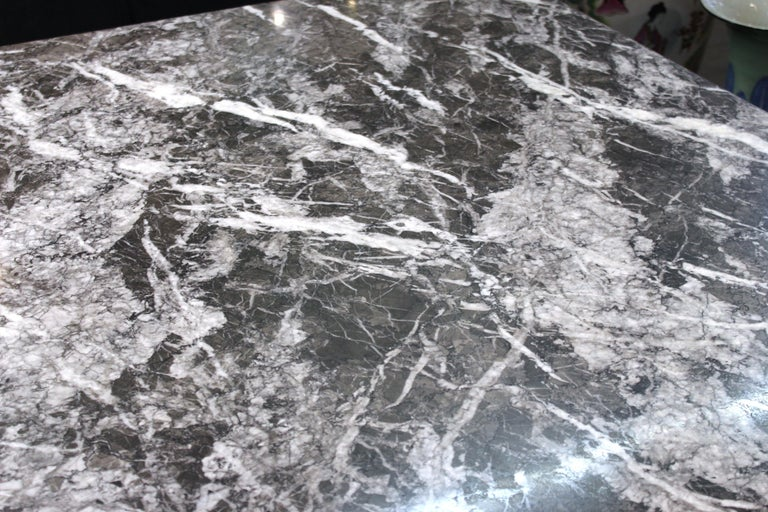 20th Century Modern Brueton Style Dining Table With Square Veined Marble Top For Sale
