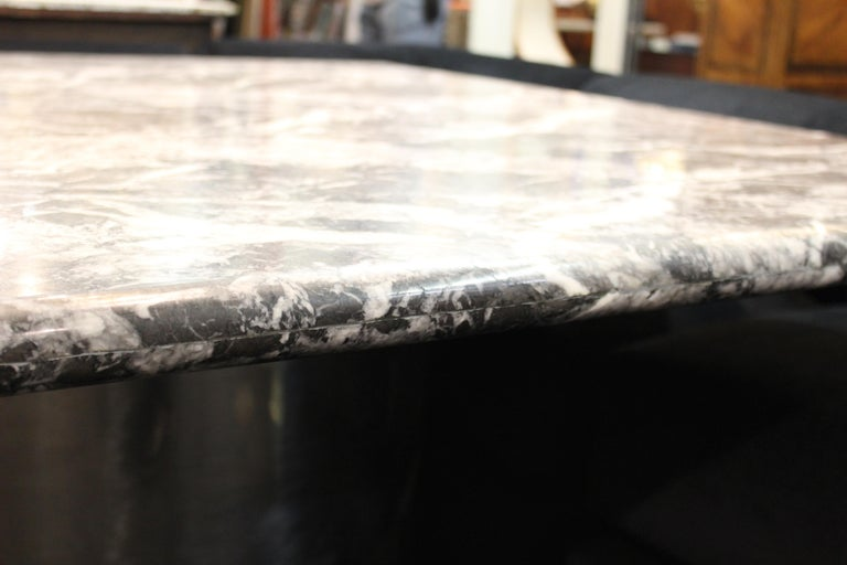 Modern Brueton Style Dining Table With Square Veined Marble Top For Sale 1