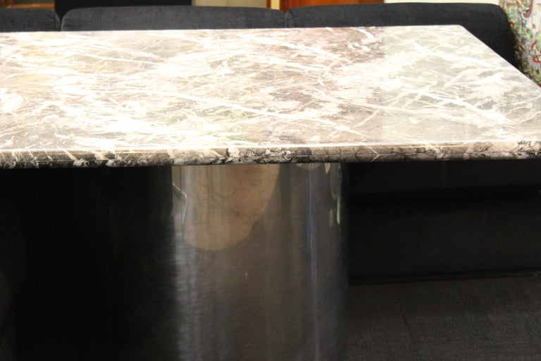 Modern Brueton Style Dining Table With Square Veined Marble Top For Sale 3