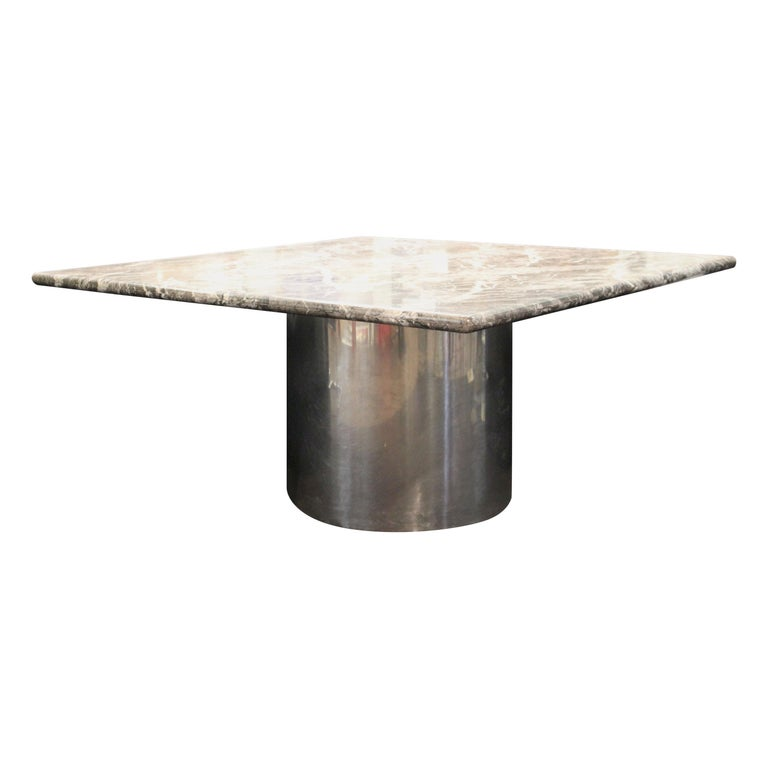 Modern Brueton Style Dining Table With Square Veined Marble Top For Sale