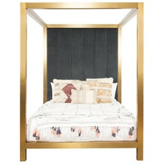 Modern Brushed Brass Four-Poster Cal. King Bed Channel Tufted Velvet Headboard