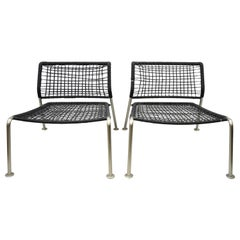 Modern Brushed Steel Low Wide Frame Vinyl Rope Lounge Slipper Chairs, a Pair