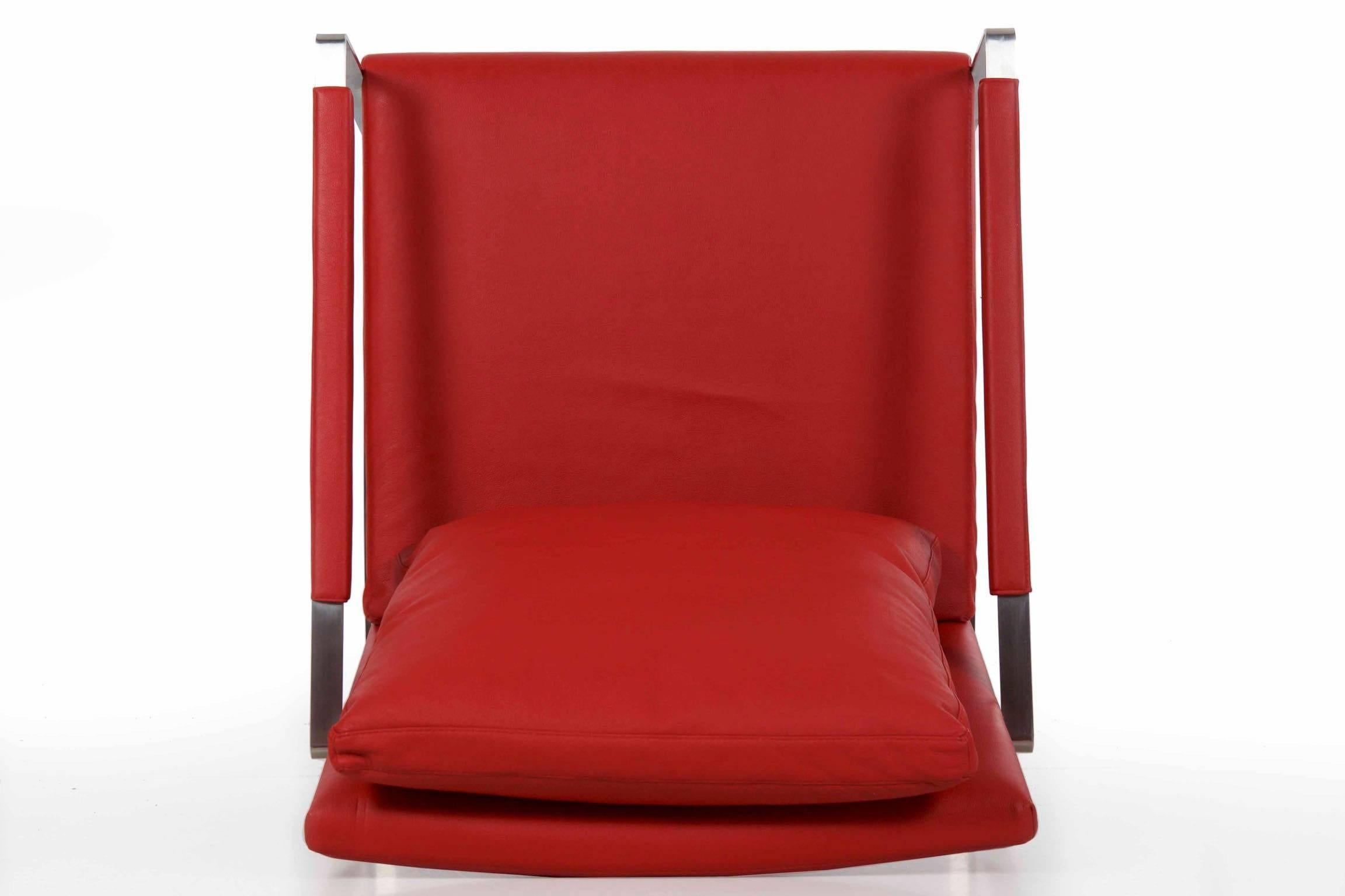 Modern Brushed Steel Red Faux-Leather Cube Lounge Chair Style of Milo Baughman For  sc 1 st  1stDibs & Modern Brushed Steel Red Faux-Leather Cube Lounge Chair Style of ...