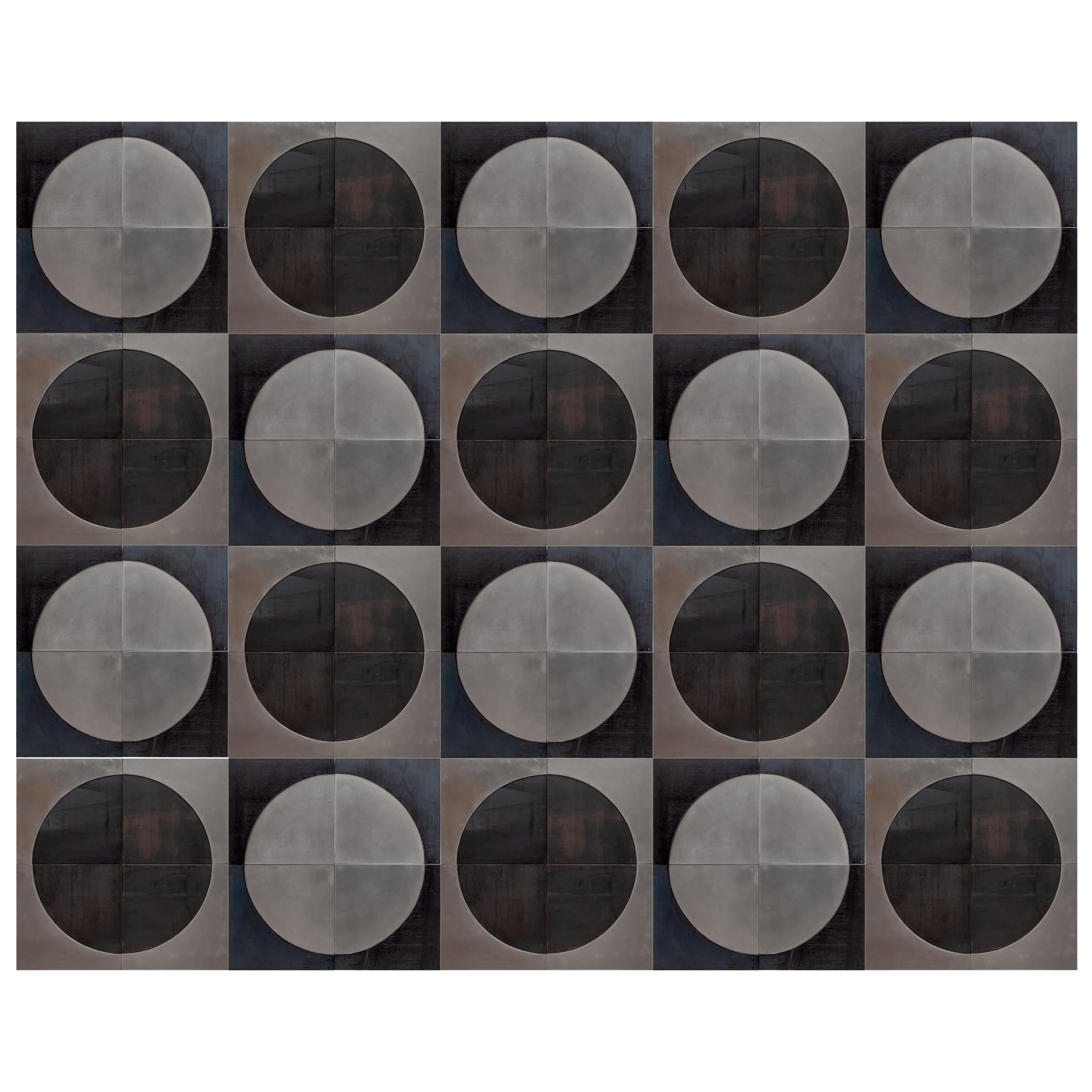 Modern Brutalist Art Wall Decoration in Metal Black and Silver, 1960s, Belgium