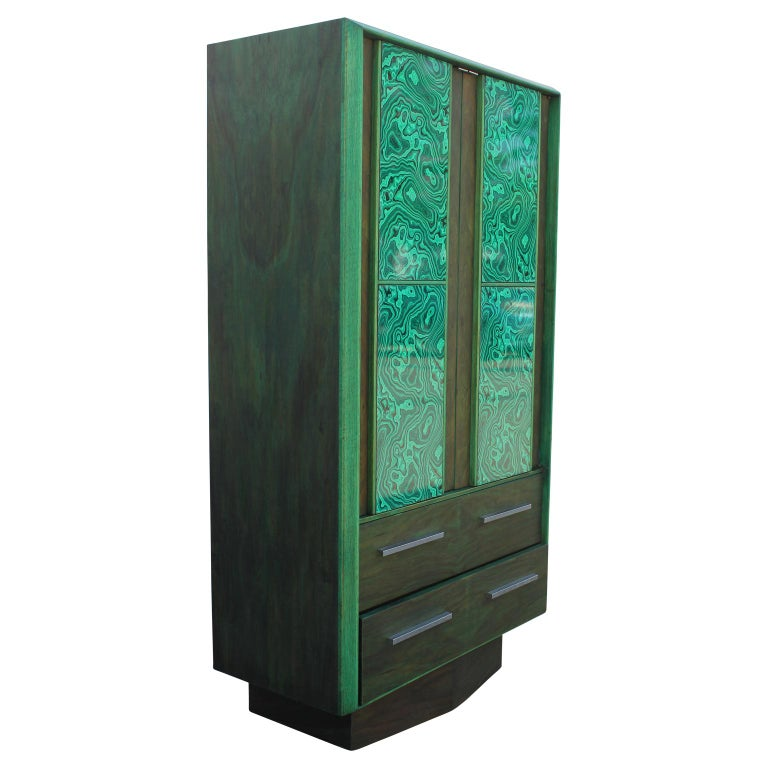 American Modern Brutalist Faux Malachite Green Dyed Tall Boy Dresser or Cabinet For Sale