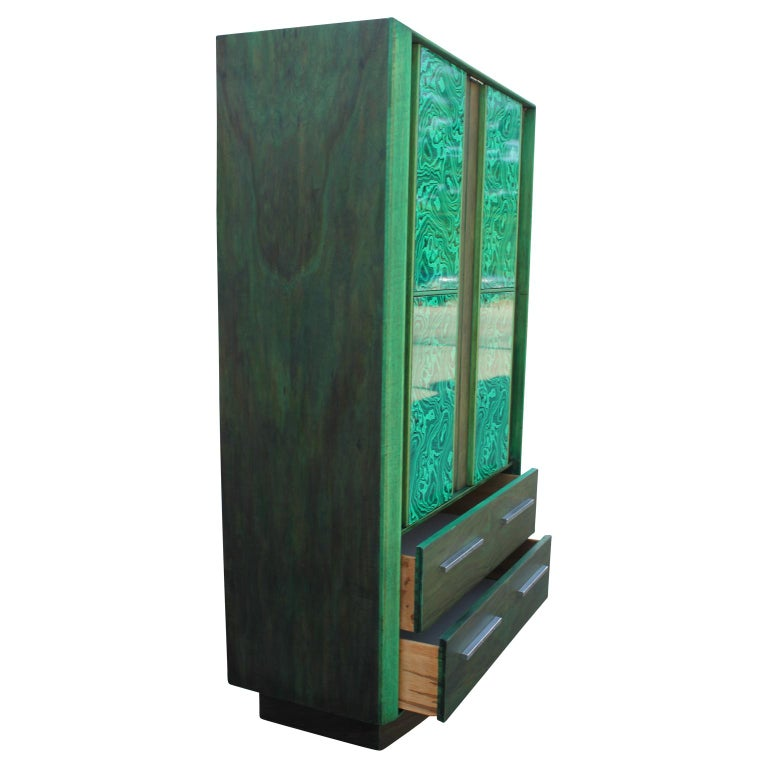 Contemporary Modern Brutalist Faux Malachite Green Dyed Tall Boy Dresser or Cabinet For Sale