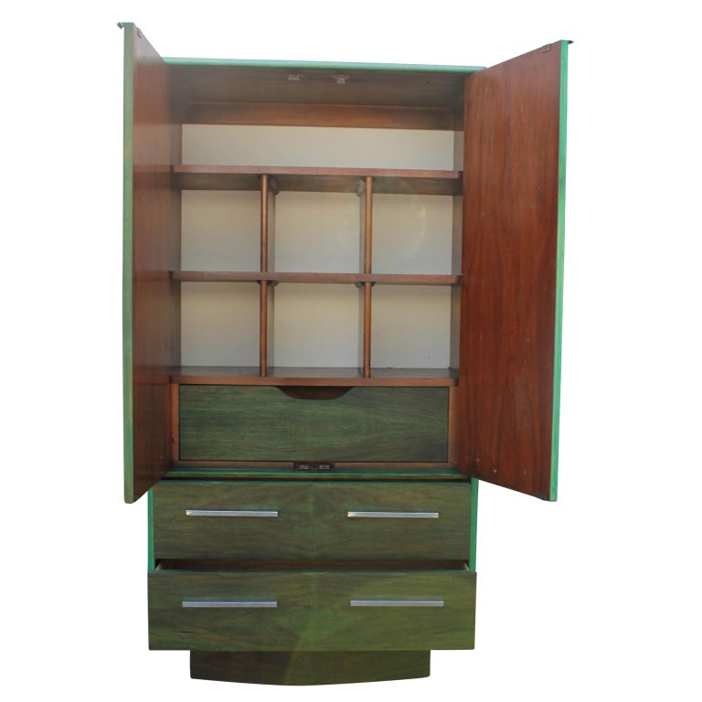 Walnut Modern Brutalist Faux Malachite Green Dyed Tall Boy Dresser or Cabinet For Sale