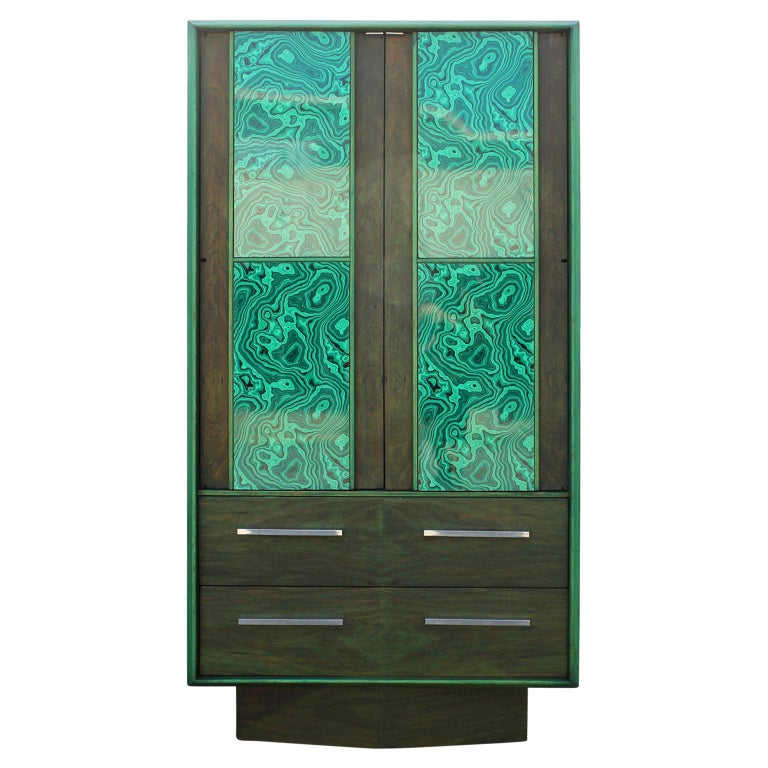 Modern Brutalist Faux Malachite Green Dyed Tall Boy Dresser or Cabinet For Sale
