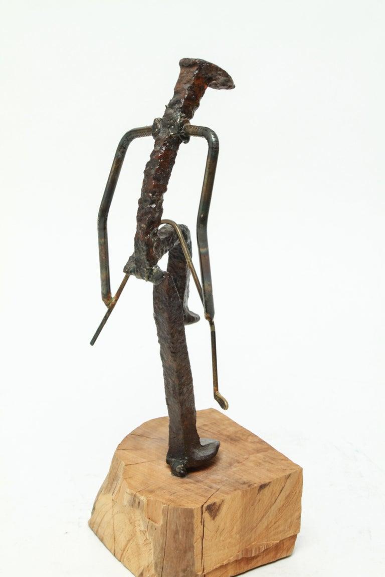 20th Century Modern Brutalist Iron Golfer Nail Sculpture For Sale