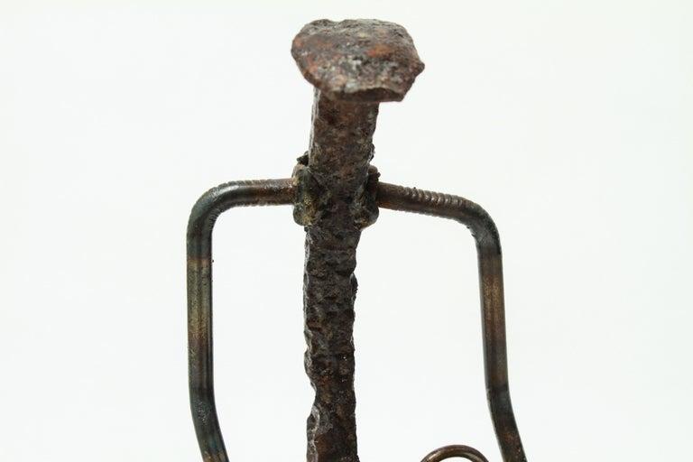 Modern Brutalist Iron Golfer Nail Sculpture For Sale 2