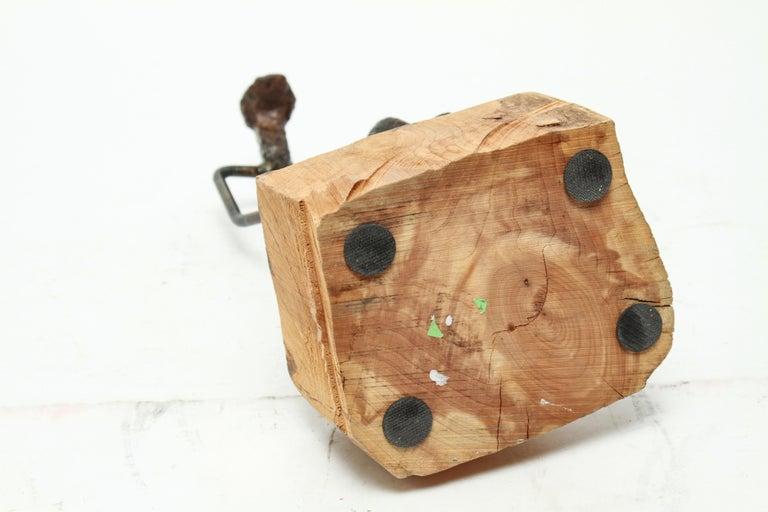Modern Brutalist Iron Golfer Nail Sculpture For Sale 3