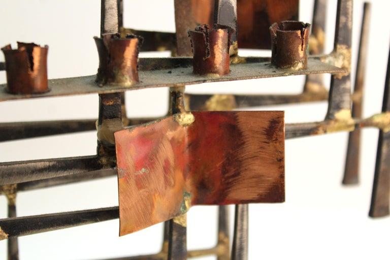 Modern Brutalist Judaica Menorah in Metal For Sale 6