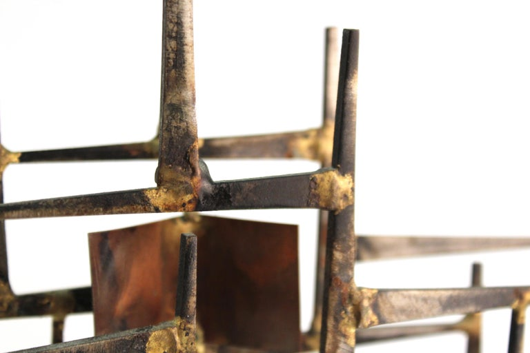 Modern Brutalist Judaica Menorah in Metal For Sale 7