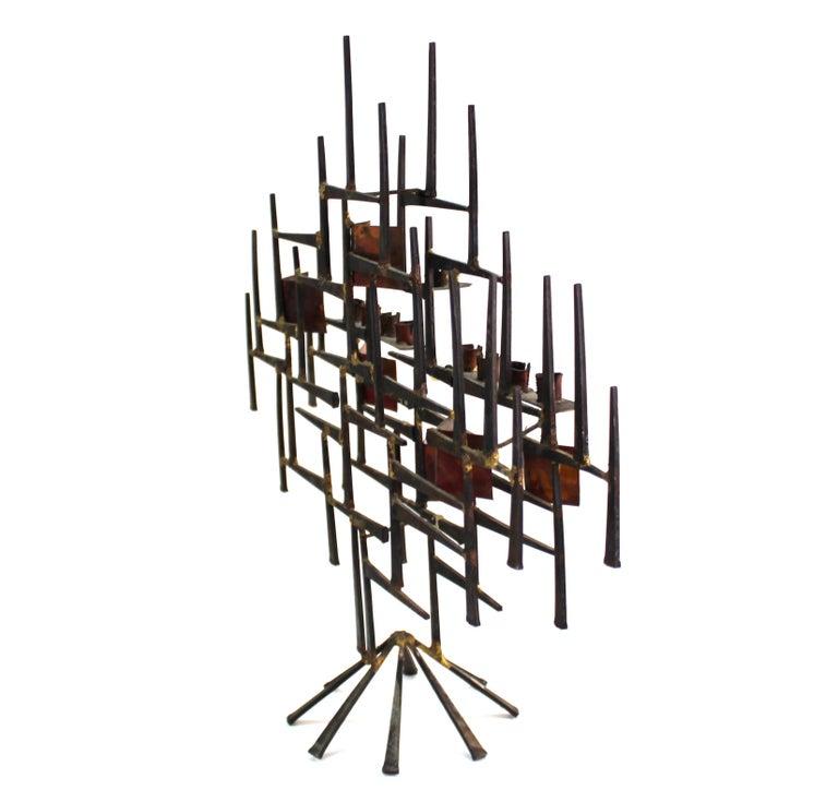 Modern Brutalist Judaica Menorah in Metal For Sale 1