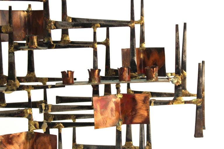 Modern Brutalist Judaica Menorah in Metal For Sale 2
