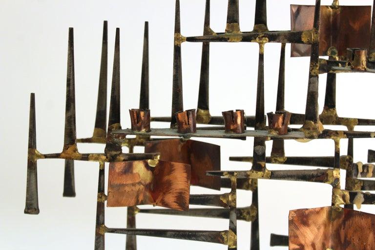 Modern Brutalist Judaica Menorah in Metal For Sale 3