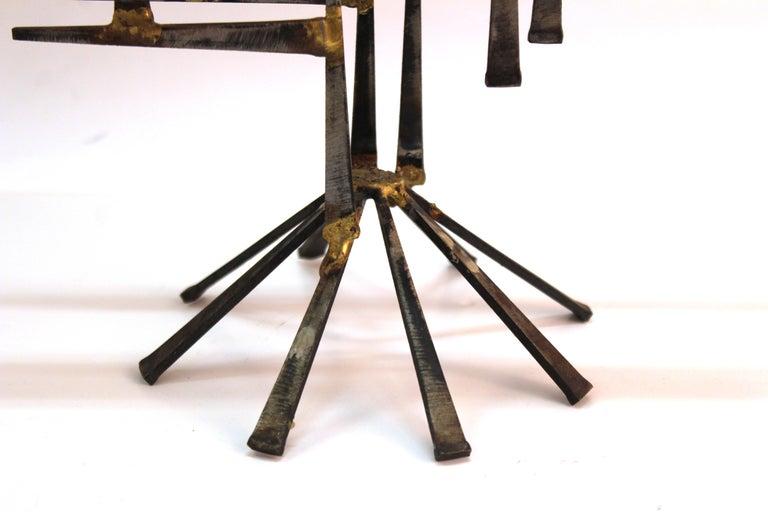 Modern Brutalist Judaica Menorah in Metal For Sale 4