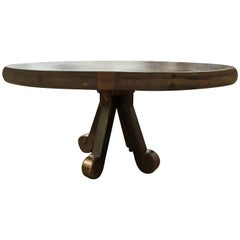 Modern Brutalist Round Bronzed Metal Custom Coffee Cocktail Table, Curled Foot