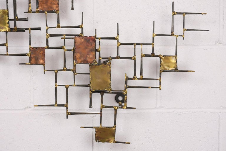 American Modern Brutalist Style Art Wall Sculpture For Sale