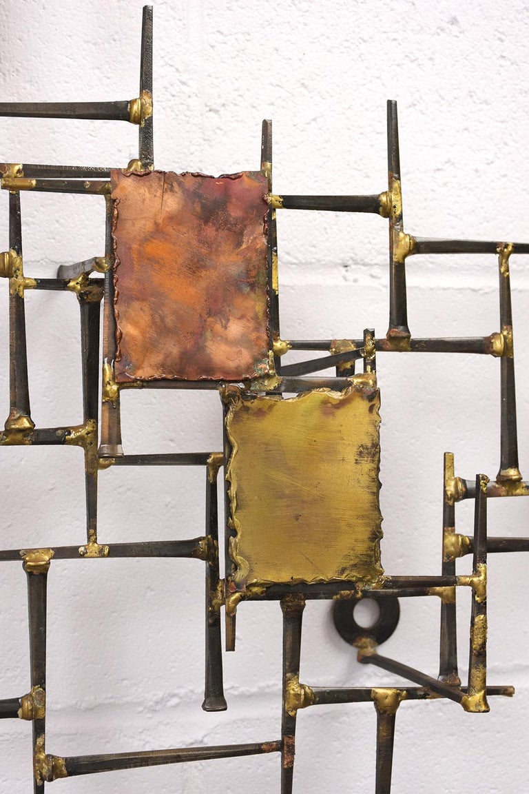 Metalwork Modern Brutalist Style Art Wall Sculpture For Sale