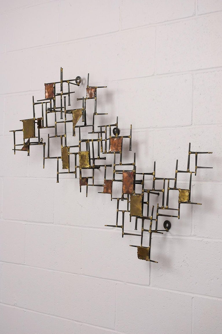Metal Modern Brutalist Style Art Wall Sculpture For Sale