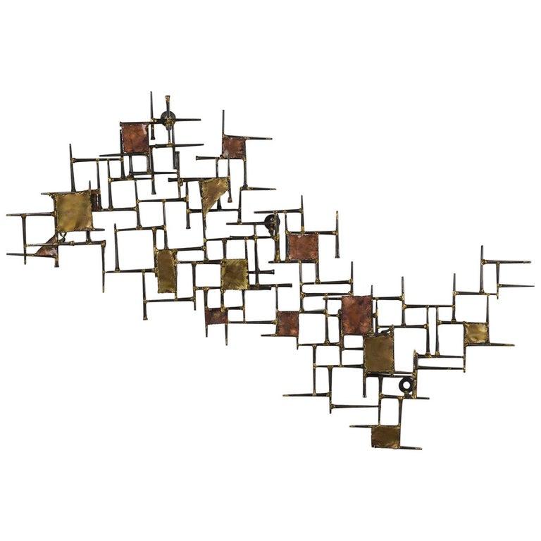 Modern Brutalist Style Art Wall Sculpture For Sale