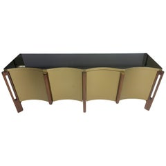 Modern Buffet Table with Glass Top and Scalloped Edge