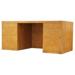 Modern Burl Wood Carpathian Elm Clean Line Executive Desk