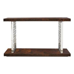 Modern Burl Wood Console Table with Polished Chrome Legs