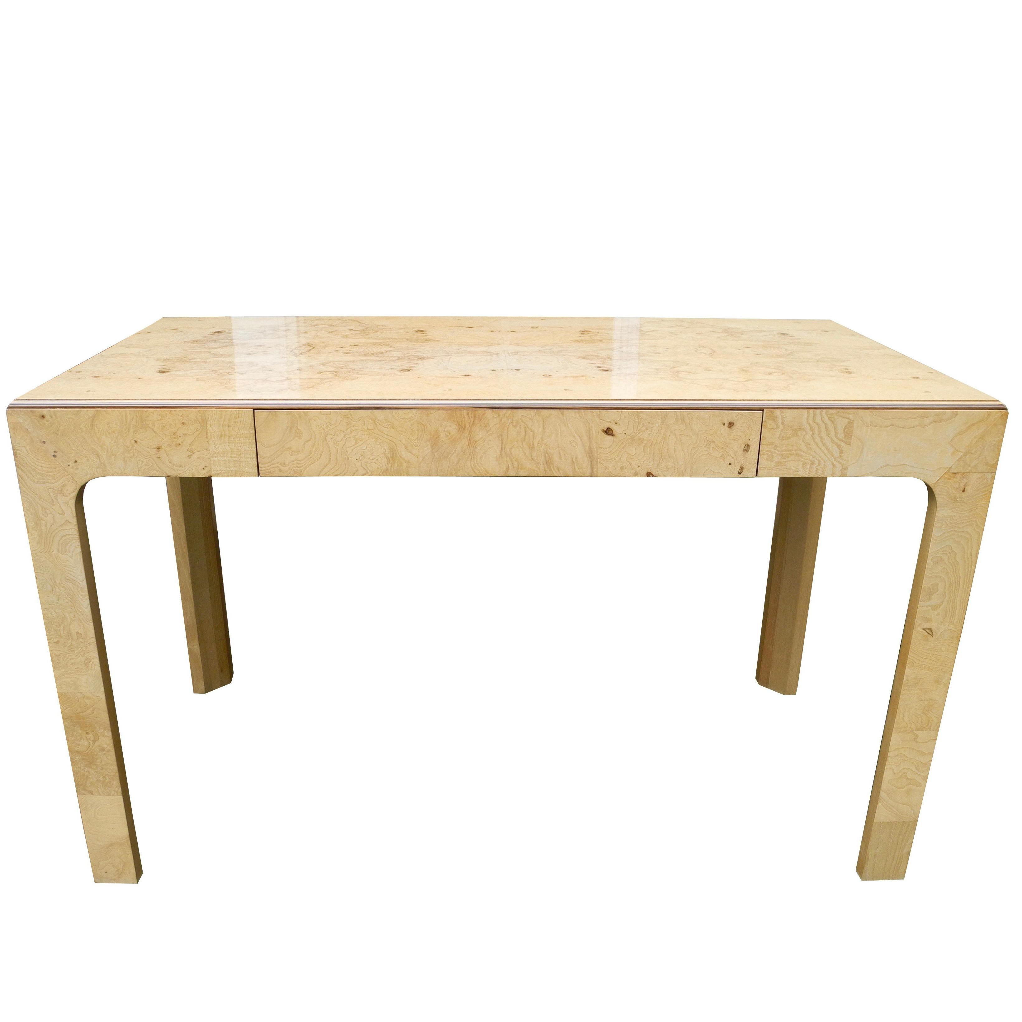 Modern Travertine Top Single Drawer Desk By Henredon With Br Hardware For At 1stdibs