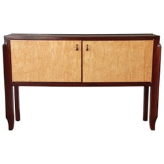 Modern Burl Wood and Mahogany Sideboard Buffet with Granite Top