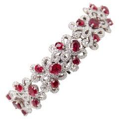 Modern Burmese No Heat 16.20 Carat Ruby Bracelet