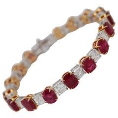 Modern Burmese No Heat 19.24 Carat Ruby Bracelet