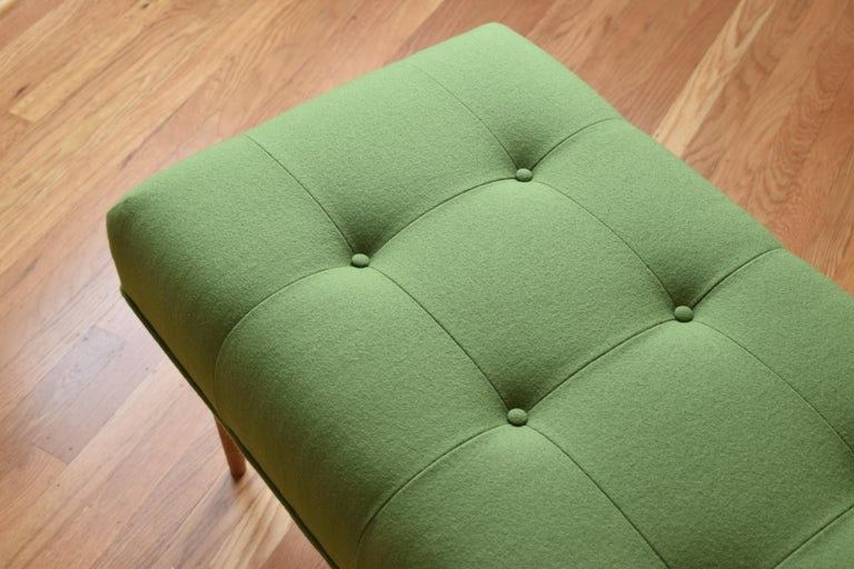 American Modern Button Tufted Bench Upholstered in Green with Walnut Spindle Legs For Sale
