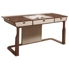 Modern by Giuseppe Carpanelli Desyo Writing Desk Walnut Wood with Leather