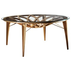 Modern by Giuseppe Carpanelli Galileo Round Dining Table Oak Pierced Wood