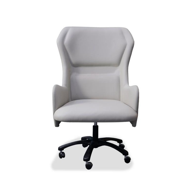 Office armchair, with veneered back in Sycomoro dark frisè wood, upholstery in polyurethane in different densities, base in metal, equipped with amortized mechanism adjustable in height. It is available with several coverings.