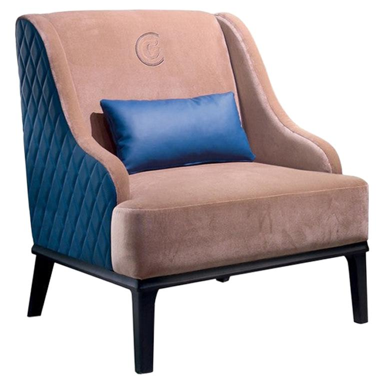 Modern by Giuseppe Carpanelli Square Armchair with Quilted Back