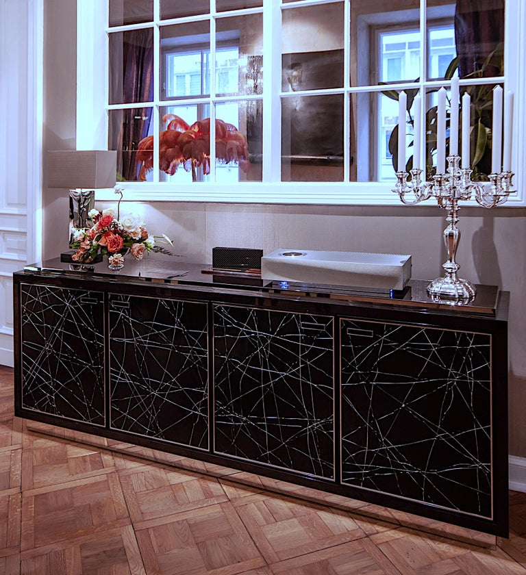 Modern Cabinet in Stained Oak Veneer with Black Artisan Panels, Available Now For Sale 3