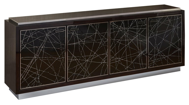 Polish Modern Cabinet in Stained Oak Veneer with Black Artisan Panels, Available Now For Sale