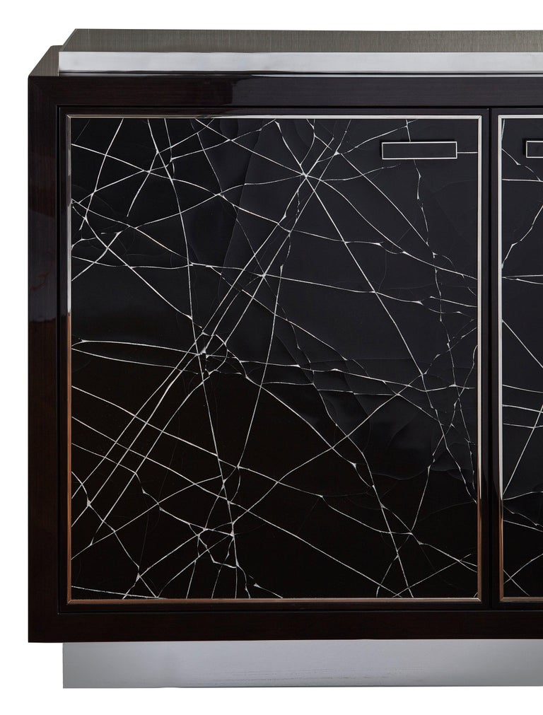 Stainless Steel Modern Cabinet in Stained Oak Veneer with Black Artisan Panels, Available Now For Sale