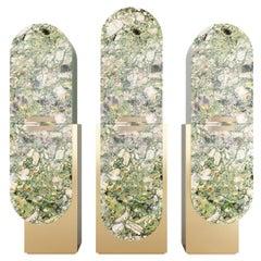21th Century Modern Cabinet Set, Green Marinace Granite, Silver Leaf & Gold Base