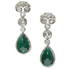 Modern Cabochon Emerald, Diamond and Platinum Earrings