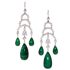 Modern Cabochon Emerald, Diamond and White Gold Drop Earrings